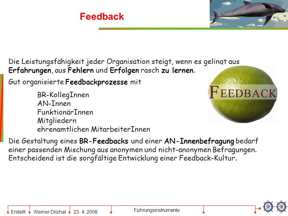 Erstellt Werner Drizhal23. 4. 2008 Führungsinstrumente Feedback Die Leistungsfähigkeit jeder Organisation steigt, wenn es gelingt aus Erfahrungen, aus