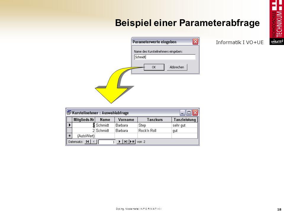 Informatik I VO+UE Dipl.Ing. Nicole Hertel I N F O R M A T I K I 18 Beispiel einer Parameterabfrage