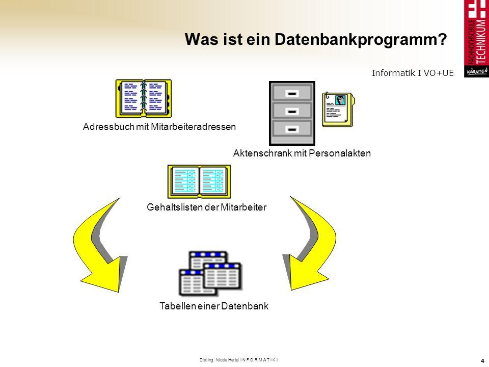 Informatik I VO+UE Dipl.Ing. Nicole Hertel I N F O R M A T I K I 4 Was ist ein Datenbankprogramm? Adressbuch mit Mitarbeiteradressen Gehaltslisten der