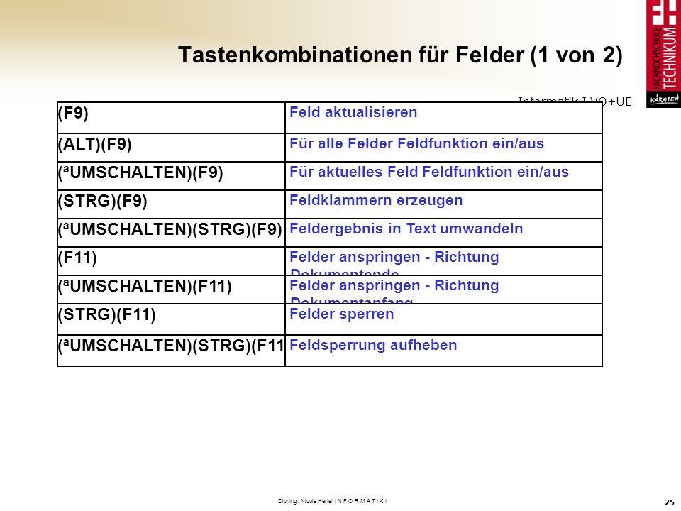 Informatik I VO+UE Dipl.Ing. Nicole Hertel I N F O R M A T I K I 25 Tastenkombinationen für Felder (1 von 2) (F9) Feld aktualisieren (ALT)(F9) Für all