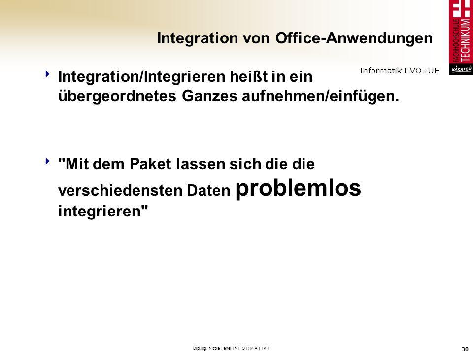 Informatik I VO+UE Dipl.Ing. Nicole Hertel I N F O R M A T I K I 30 Integration von Office-Anwendungen Integration/Integrieren heißt in ein übergeordn