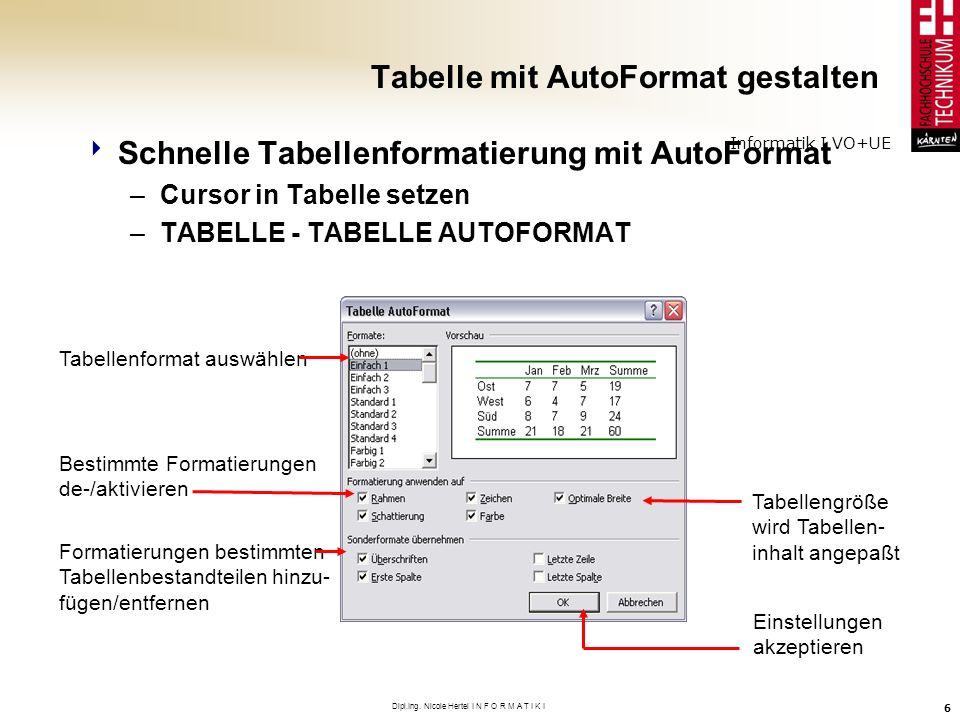 Informatik I VO+UE Dipl.Ing. Nicole Hertel I N F O R M A T I K I 6 Tabelle mit AutoFormat gestalten Schnelle Tabellenformatierung mit AutoFormat –Curs