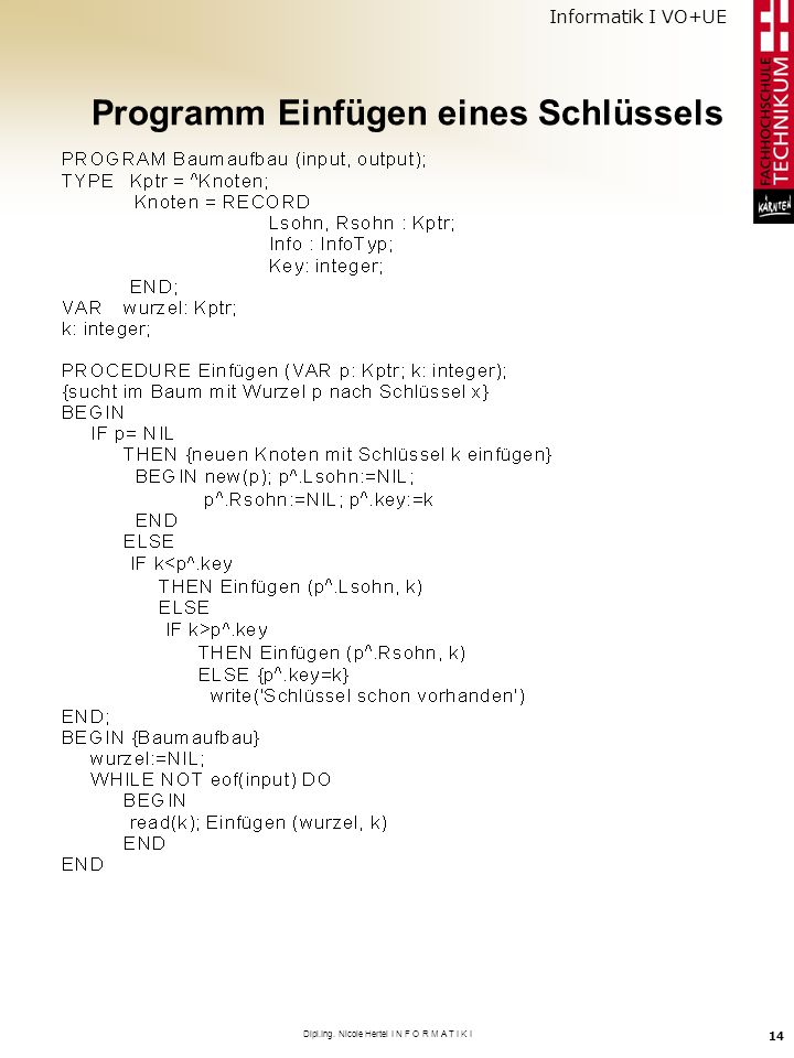 Informatik I VO+UE Dipl.Ing. Nicole Hertel I N F O R M A T I K I 14 Programm Einfügen eines Schlüssels