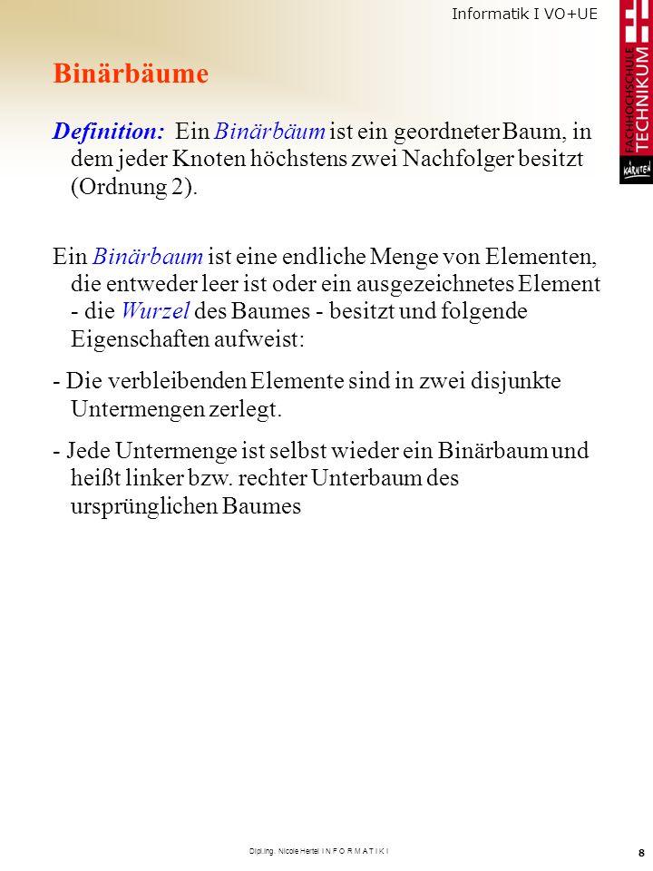 Informatik I VO+UE Dipl.Ing. Nicole Hertel I N F O R M A T I K I 8 Binärbäume Definition: Ein Binärbäum ist ein geordneter Baum, in dem jeder Knoten h