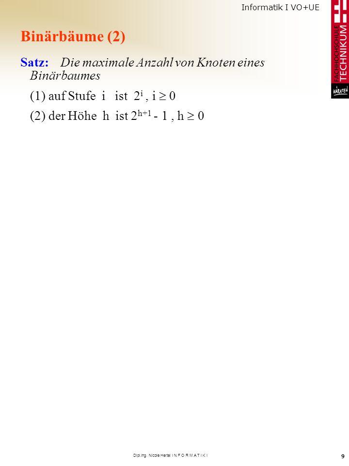 Informatik I VO+UE Dipl.Ing. Nicole Hertel I N F O R M A T I K I 9 Binärbäume (2) Satz: Die maximale Anzahl von Knoten eines Binärbaumes (1) auf Stufe