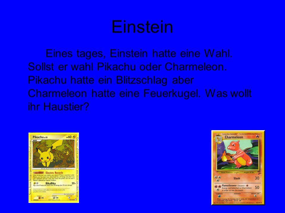 Einstein Eines tages, Einstein hatte eine Wahl. Sollst er wahl Pikachu oder Charmeleon. Pikachu hatte ein Blitzschlag aber Charmeleon hatte eine Feuer