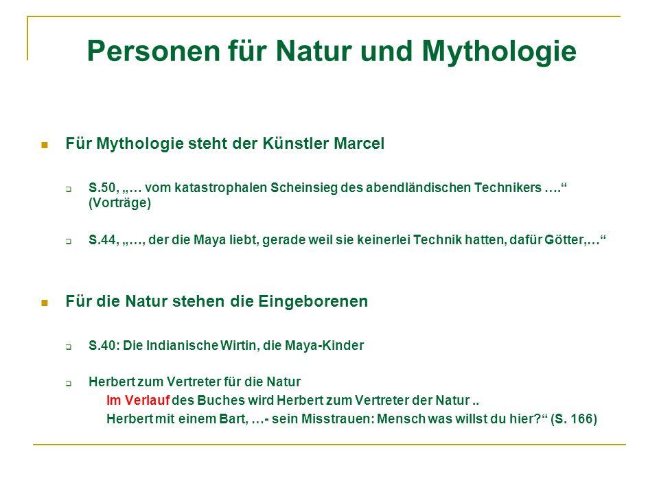 Personen für Natur und Mythologie Für Mythologie steht der Künstler Marcel S.50, … vom katastrophalen Scheinsieg des abendländischen Technikers …. (Vo
