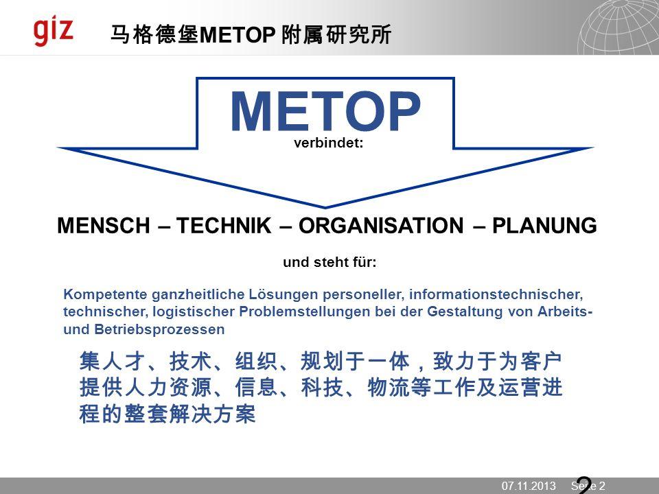 07.11.2013 Seite 2 2 verbindet: MENSCH – TECHNIK – ORGANISATION – PLANUNG und steht für: Kompetente ganzheitliche Lösungen personeller, informationste