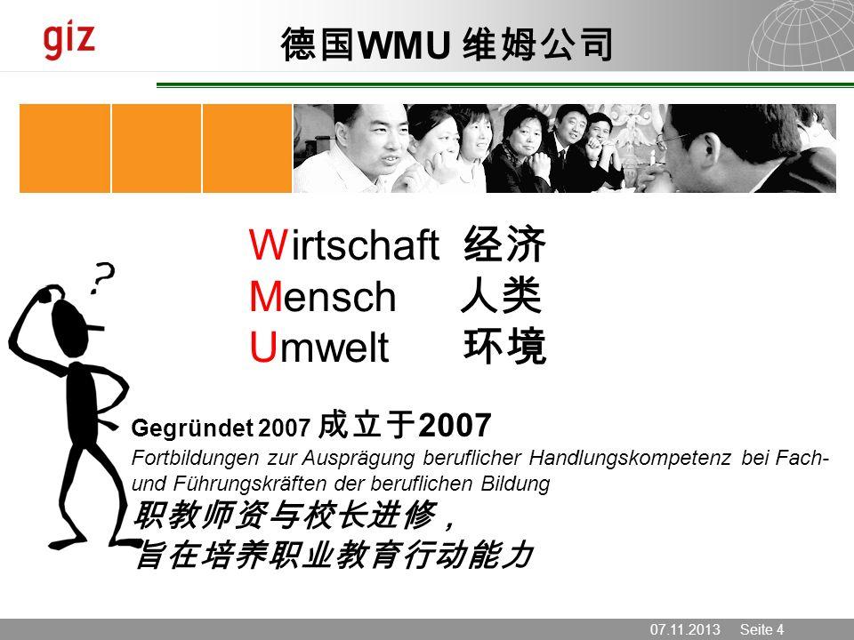07.11.2013 Seite 4 Wirtschaft Mensch Umwelt Gegründet 2007 2007 Fortbildungen zur Ausprägung beruflicher Handlungskompetenz bei Fach- und Führungskräf