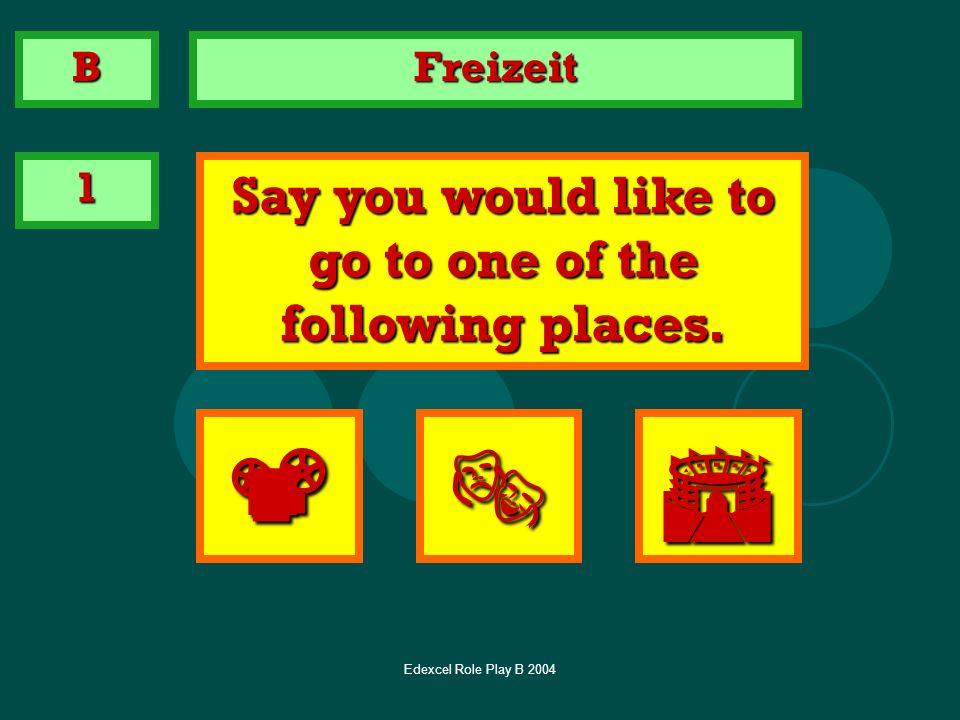 Edexcel Role Play B 2004 Im Verkehrsamt 1 Ich möchte … zum Schloss gehen B zum Zoo gehen