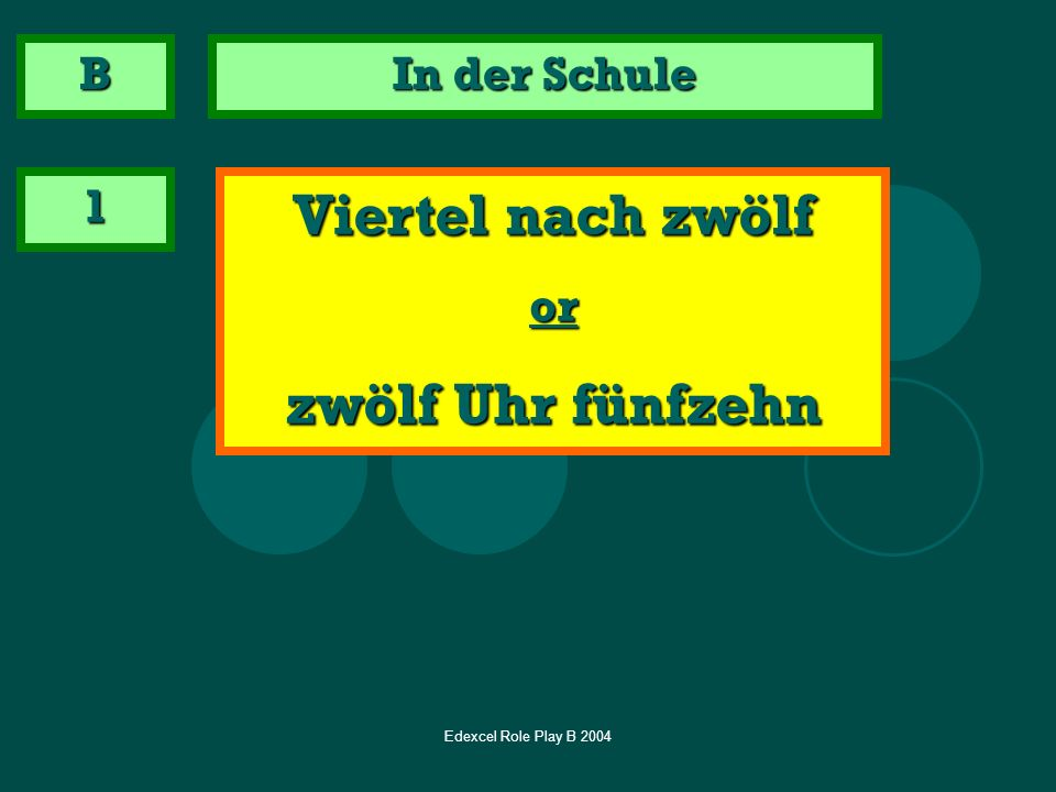Edexcel Role Play B 2004 Now some unpredictable questions – you will see the German question and need to translate it.