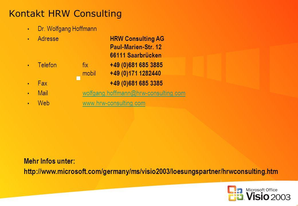 Kontakt HRW Consulting Dr. Wolfgang Hoffmann Adresse HRW Consulting AG Paul-Marien-Str. 12 66111 Saarbrücken Telefonfix +49 (0)681 685 3885 mobil +49