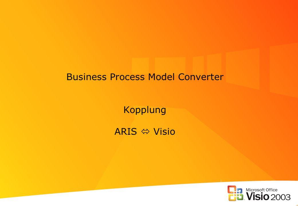 Methodenmapping der Visio® und ARIS Methoden Visio ® verfügt über andere Methoden als ARIS, Methoden können in Visio ® frei konfiguriert werden.