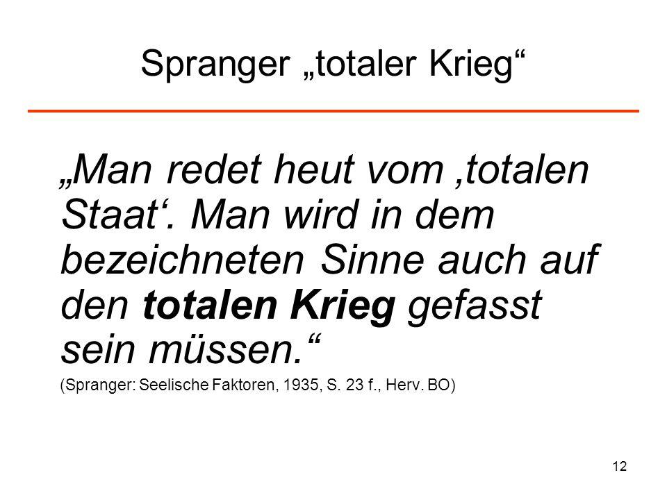 12 Spranger totaler Krieg Man redet heut vom totalen Staat. Man wird in dem bezeichneten Sinne auch auf den totalen Krieg gefasst sein müssen. (Sprang