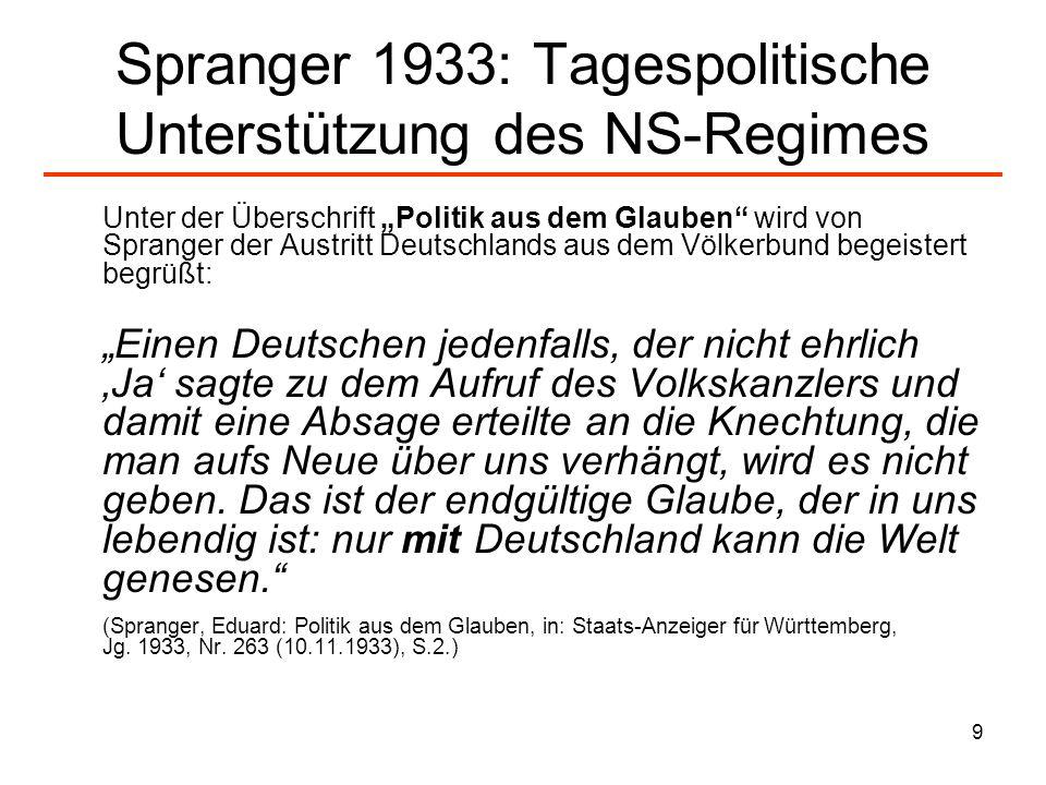 9 Spranger 1933: Tagespolitische Unterstützung des NS-Regimes Unter der Überschrift Politik aus dem Glauben wird von Spranger der Austritt Deutschland