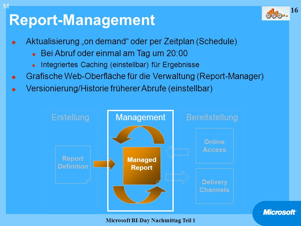 16 Microsoft BI-Day Nachmittag Teil 1 Report-Management Report Definition Managed Report Delivery Channels Online Access Erstellung Management Bereits