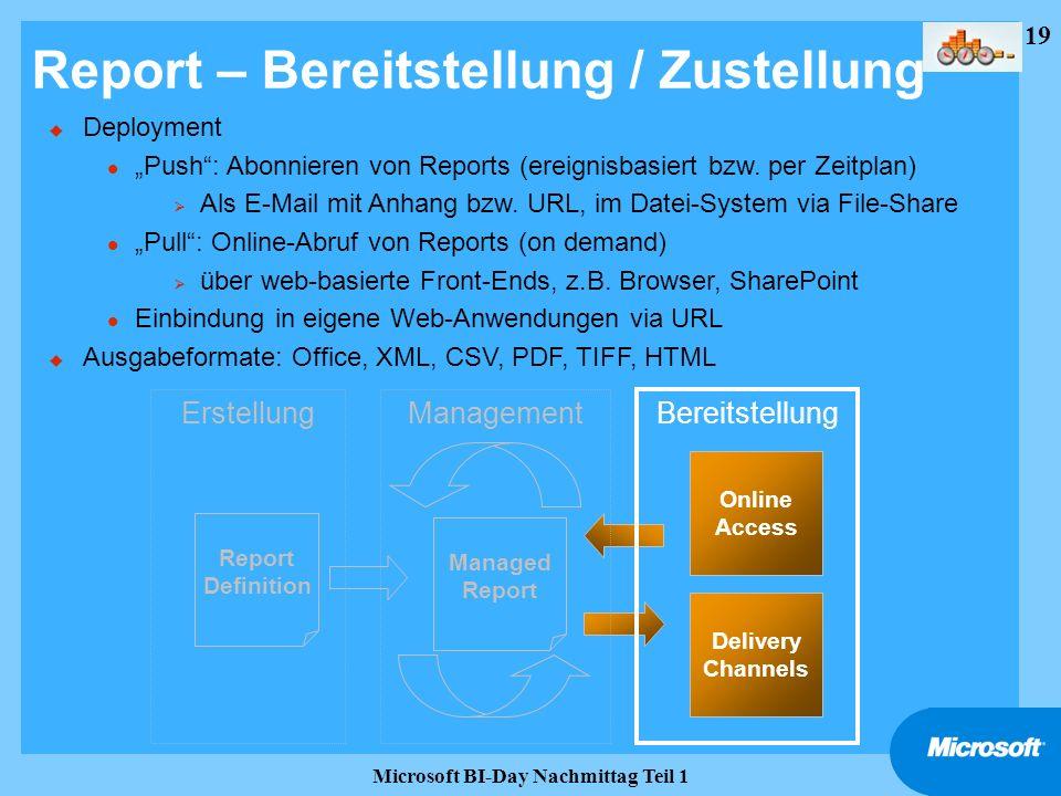19 Microsoft BI-Day Nachmittag Teil 1 Report – Bereitstellung / Zustellung Report Definition Managed Report Delivery Channels Online Access Erstellung
