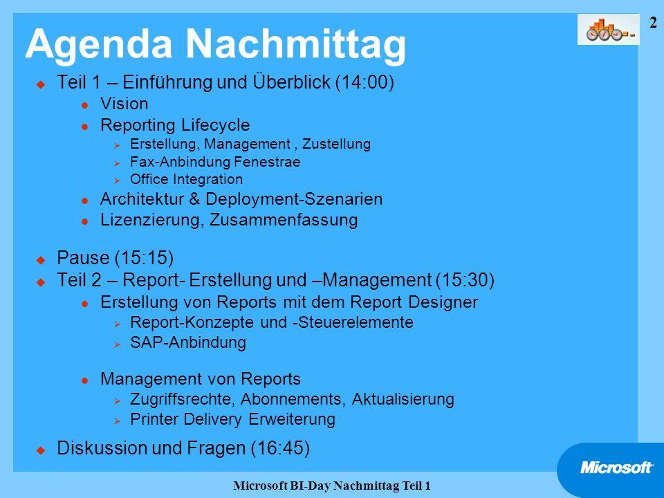 43 Microsoft BI-Day Nachmittag Teil 1 Weitere Informationen u Infos im Web: l http://www.microsoft.com/sql/reporting/ http://www.microsoft.com/sql/reporting/ l http://www.microsoft.com/sql/evaluation/bi/reportingservices.asp http://www.microsoft.com/sql/evaluation/bi/reportingservices.asp l Newsgroup: microsoft.public.sqlserver.reportingsvcs l MOC-Kurs 2030: http://www.microsoft.com/traincert/syllabi/2030AFinal.asphttp://www.microsoft.com/traincert/syllabi/2030AFinal.asp l Partner: http://members.microsoft.com/partner/products/servers/sqlserver/reporting.aspxhttp://members.microsoft.com/partner/products/servers/sqlserver/reporting.aspx l Bestellung: http://www.microsoft.com/germany/ms/sql/2000/reportingservices/bestellen.htmhttp://www.microsoft.com/germany/ms/sql/2000/reportingservices/bestellen.htm u Webcasts: l http://www.microsoft.com/germany/aktionen/webcasts/default.aspx http://www.microsoft.com/germany/aktionen/webcasts/default.aspx u SAP-Anbindung: l www.microsoft-sap.com/technology.asp www.microsoft-sap.com/technology.asp u Third Party Tools: l Hitachi: Crystal Konverter (siehe newsgroup) l ActiveView: www.activeview.com www.activeview.com l Web-basiertes Designtool: www.cizer.co m www.cizer.co m