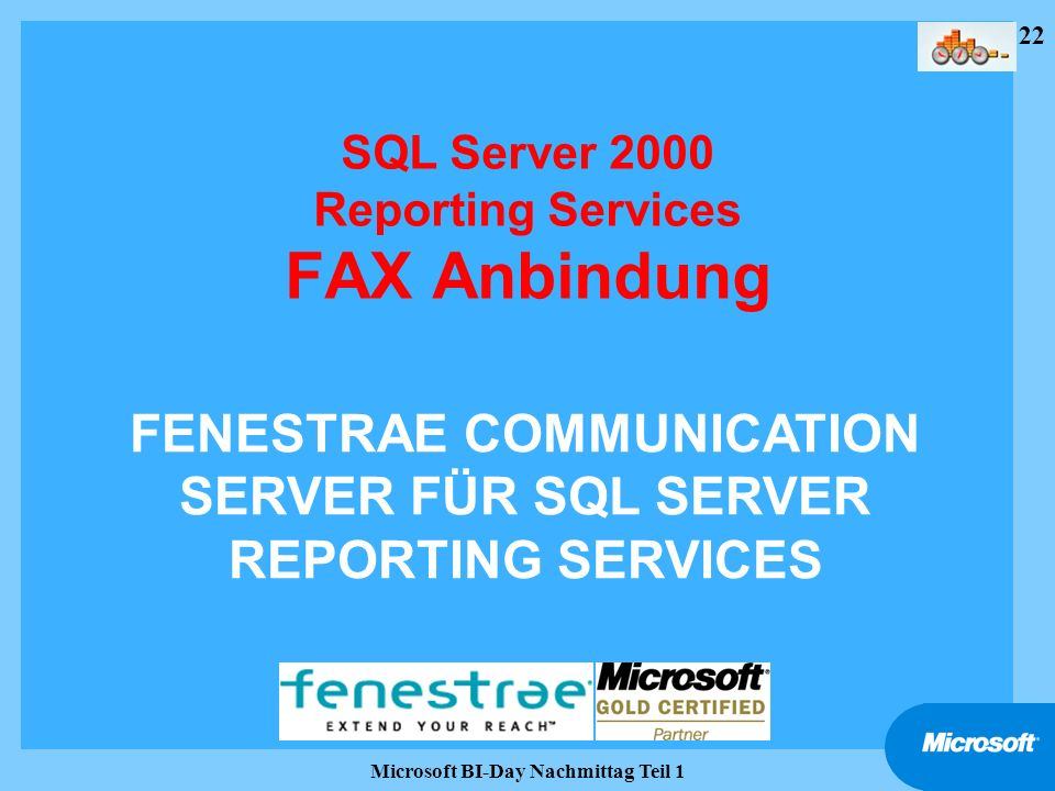 22 Microsoft BI-Day Nachmittag Teil 1 SQL Server 2000 Reporting Services FAX Anbindung FENESTRAE COMMUNICATION SERVER FÜR SQL SERVER REPORTING SERVICE