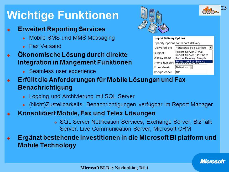 23 Microsoft BI-Day Nachmittag Teil 1 Wichtige Funktionen u Erweitert Reporting Services l Mobile SMS und MMS Messaging l Fax Versand u Ökonomische Lö