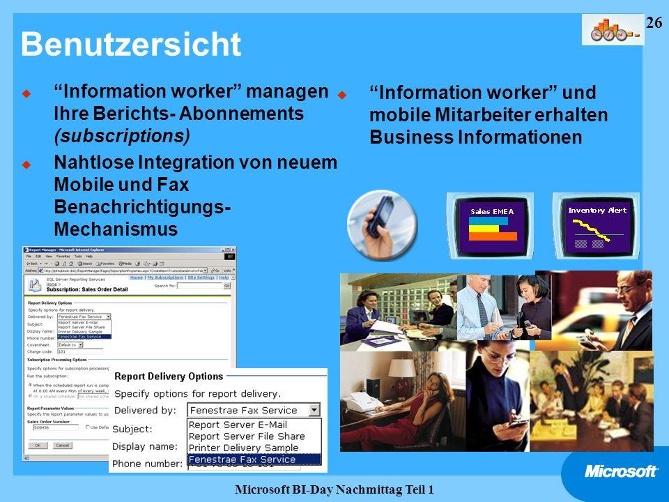 26 Microsoft BI-Day Nachmittag Teil 1 Benutzersicht u Information worker managen Ihre Berichts- Abonnements (subscriptions) u Nahtlose Integration von