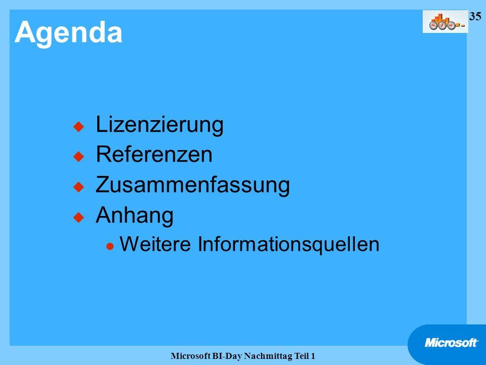 35 Microsoft BI-Day Nachmittag Teil 1 Agenda u Lizenzierung u Referenzen u Zusammenfassung u Anhang l Weitere Informationsquellen