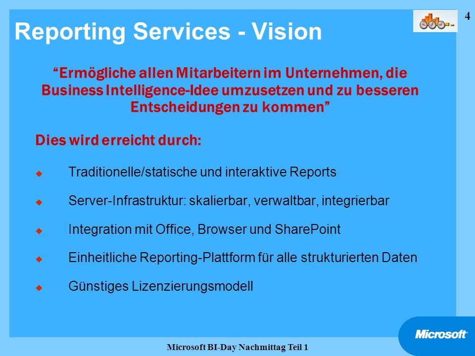 25 Microsoft BI-Day Nachmittag Teil 1 Fenestrae Transport Services Fenestrae XML Message Transfer Agent Routing Queuing Conversion SMS FAX MMS Management Logging and Monitoring Fenestrae Application Connectors SQL Report Services BizTalk Server Microsoft Exchange SQL Notify Services.NET Web services SQL Server Reporting Services Rendering Report Server Delivery Extensions Fenestrae Delivery Extension Architektur und Integration.NET Remoting
