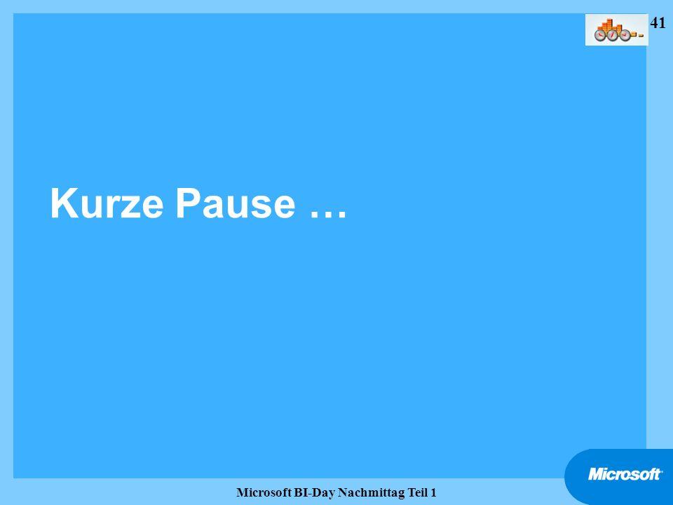 41 Microsoft BI-Day Nachmittag Teil 1 Kurze Pause …