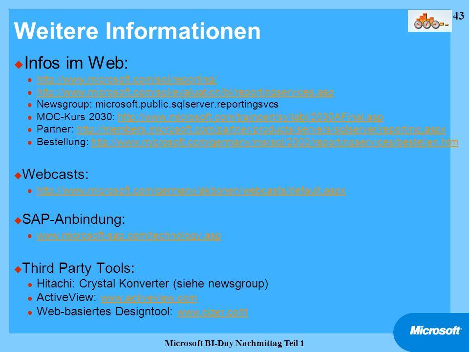 43 Microsoft BI-Day Nachmittag Teil 1 Weitere Informationen u Infos im Web: l http://www.microsoft.com/sql/reporting/ http://www.microsoft.com/sql/rep