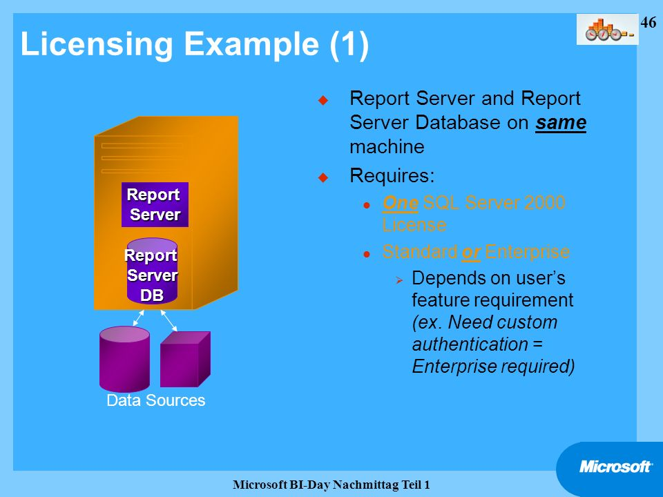 46 Microsoft BI-Day Nachmittag Teil 1 Licensing Example (1) u Report Server and Report Server Database on same machine u Requires: l One SQL Server 20