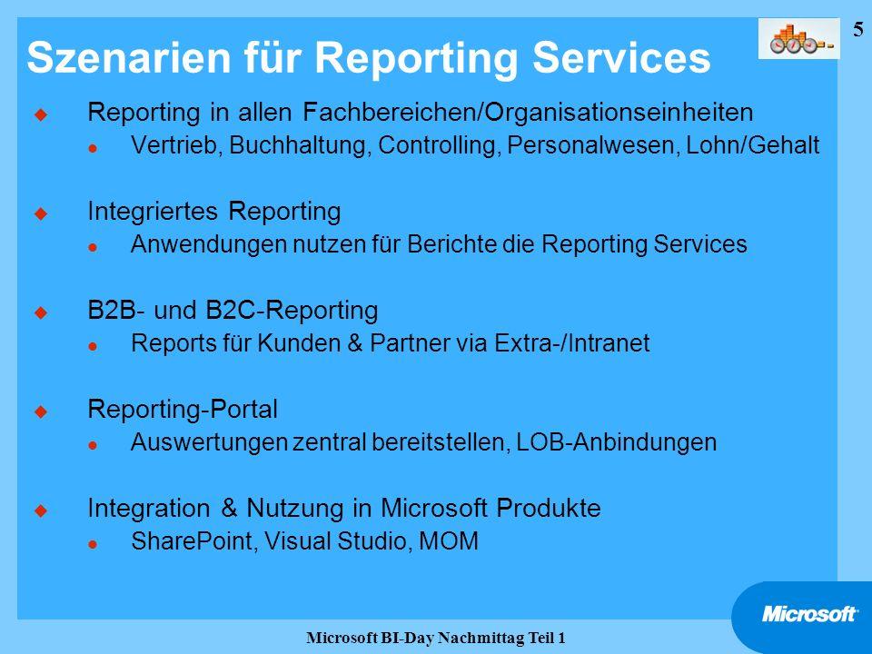 5 Microsoft BI-Day Nachmittag Teil 1 Szenarien für Reporting Services u Reporting in allen Fachbereichen/Organisationseinheiten l Vertrieb, Buchhaltun