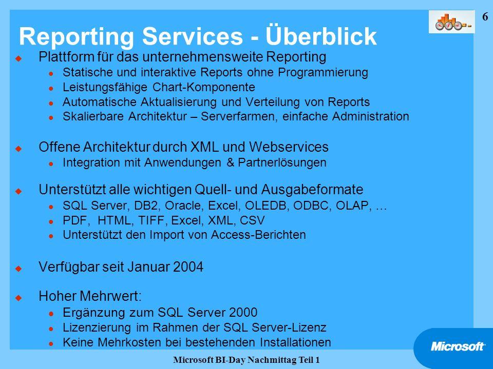 37 Microsoft BI-Day Nachmittag Teil 1 Reporting Services Lizenzierung (2) u RS benötigen eine SQL Server 2000 Datenbank l Lokale oder remote Verbindung zu einem SQL Server 2000 zum Speichern der Report-Definitionen, Metadaten, Sicherheitseinstellungen, Schedule-Tabellen usw.