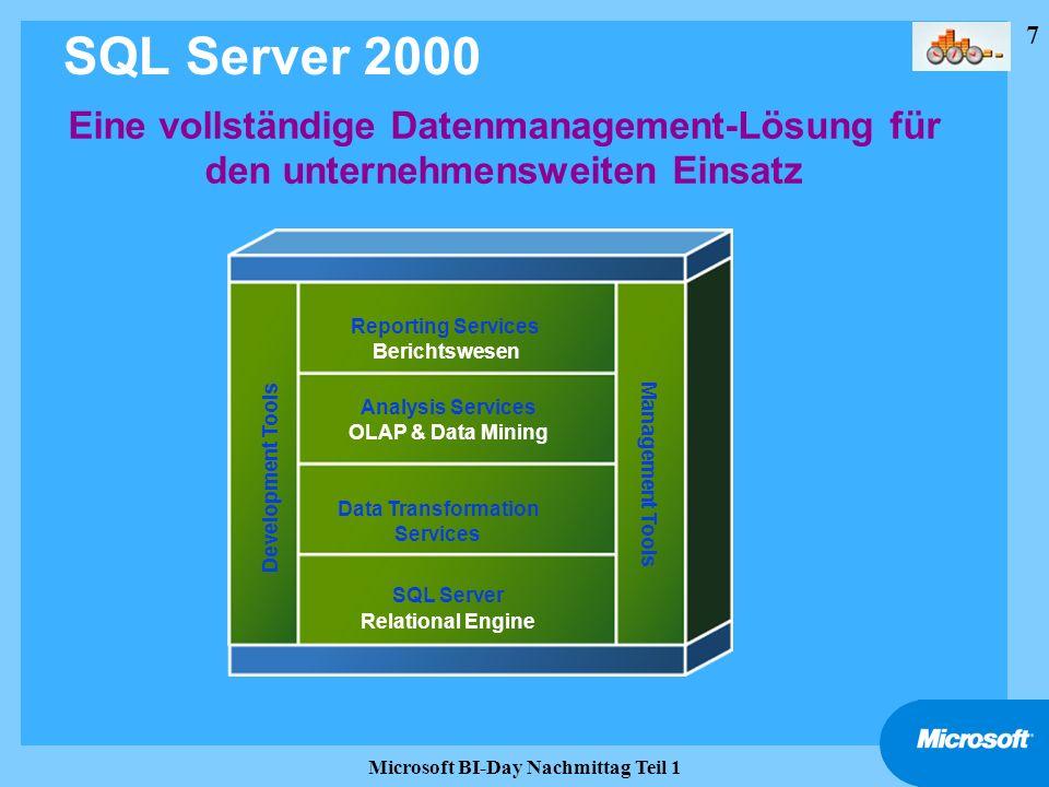7 Microsoft BI-Day Nachmittag Teil 1 SQL Server 2000 Eine vollständige Datenmanagement-Lösung für den unternehmensweiten Einsatz Reporting Services Be