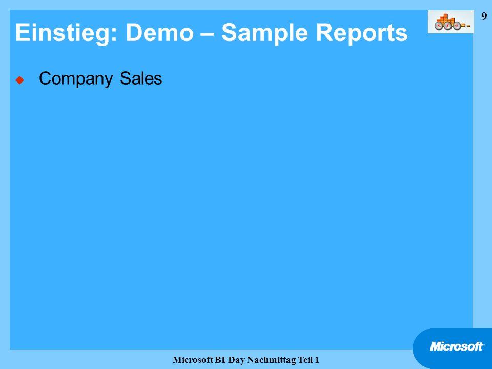 9 Microsoft BI-Day Nachmittag Teil 1 Einstieg: Demo – Sample Reports u Company Sales