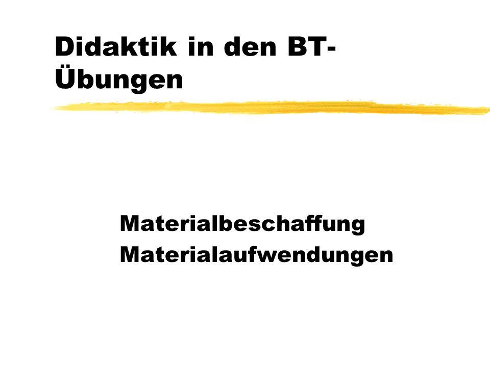 Didaktik in den BT- Übungen Materialbeschaffung Materialaufwendungen
