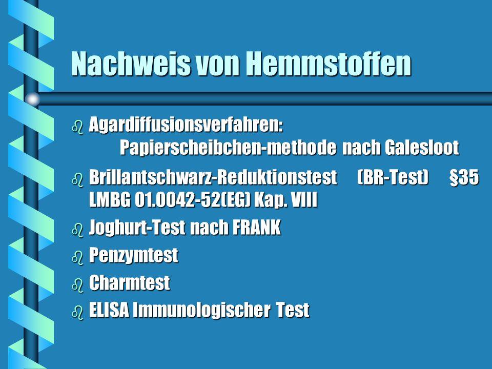 Nachweis von Hemmstoffen b Agardiffusionsverfahren: Papierscheibchen-methode nach Galesloot b Brillantschwarz-Reduktionstest (BR-Test) §35 LMBG 01.004