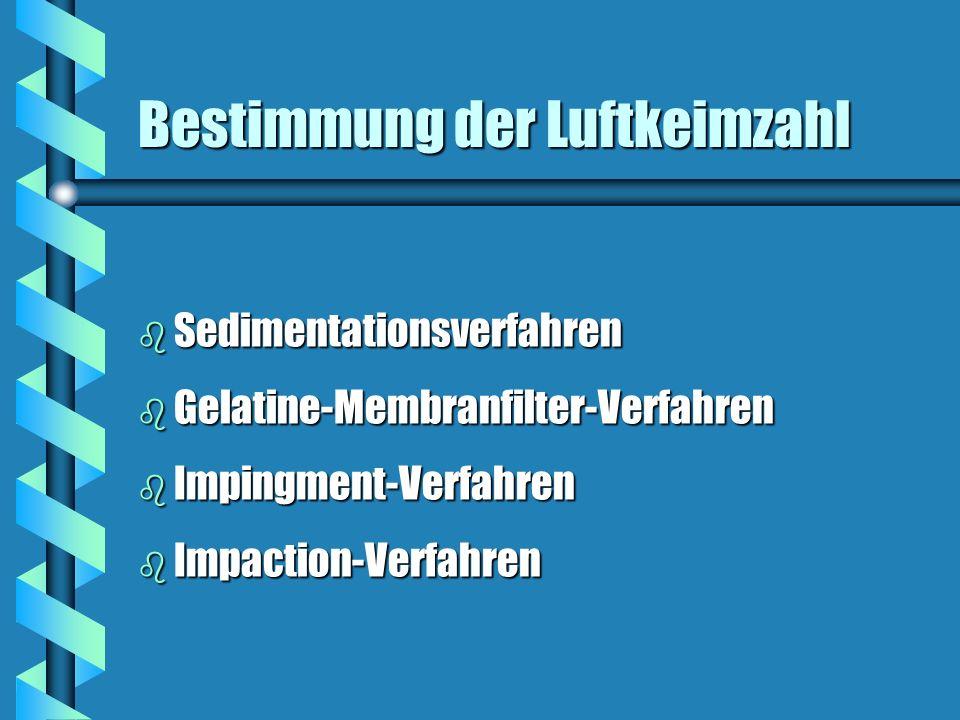 Bestimmung der Luftkeimzahl b Sedimentationsverfahren b Gelatine-Membranfilter-Verfahren b Impingment-Verfahren b Impaction-Verfahren