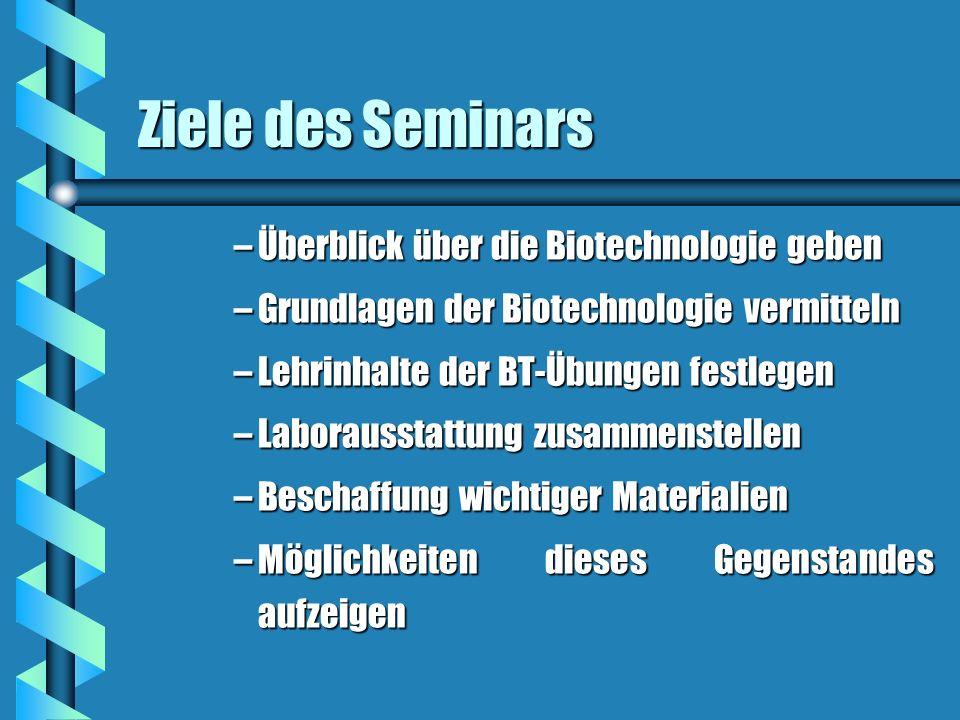 Ziele des Seminars –Überblick über die Biotechnologie geben –Grundlagen der Biotechnologie vermitteln –Lehrinhalte der BT-Übungen festlegen –Laborauss