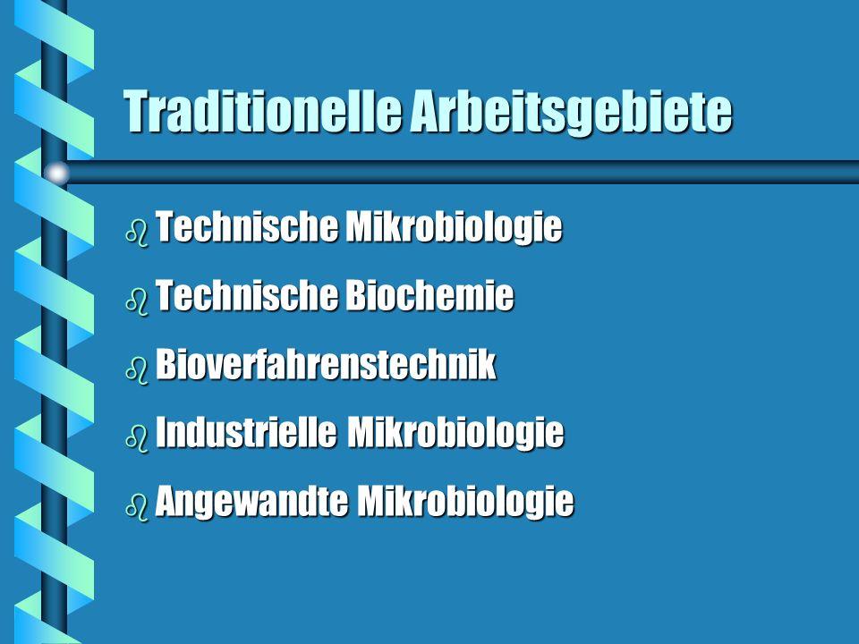 Traditionelle Arbeitsgebiete b Technische Mikrobiologie b Technische Biochemie b Bioverfahrenstechnik b Industrielle Mikrobiologie b Angewandte Mikrob