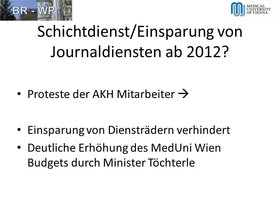Schichtdienst/Einsparung von Journaldiensten ab 2012? Proteste der AKH Mitarbeiter Einsparung von Diensträdern verhindert Deutliche Erhöhung des MedUn