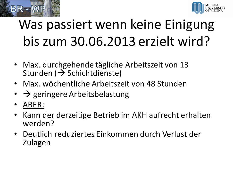 Was passiert wenn keine Einigung bis zum 30.06.2013 erzielt wird? Max. durchgehende tägliche Arbeitszeit von 13 Stunden ( Schichtdienste) Max. wöchent