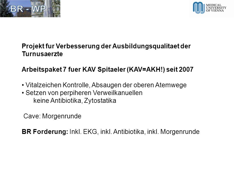 Projekt fur Verbesserung der Ausbildungsqualitaet der Turnusaerzte Arbeitspaket 7 fuer KAV Spitaeler (KAV=AKH!) seit 2007 Vitalzeichen Kontrolle, Absa