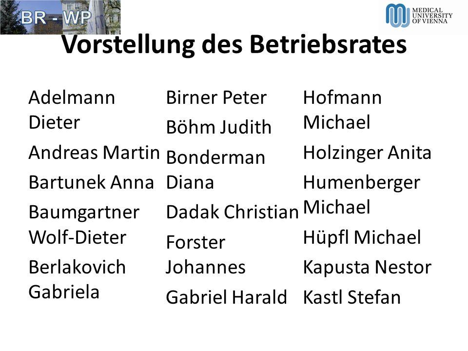Vorstellung des Betriebsrates Adelmann Dieter Andreas Martin Bartunek Anna Baumgartner Wolf-Dieter Berlakovich Gabriela Birner Peter Böhm Judith Bonde