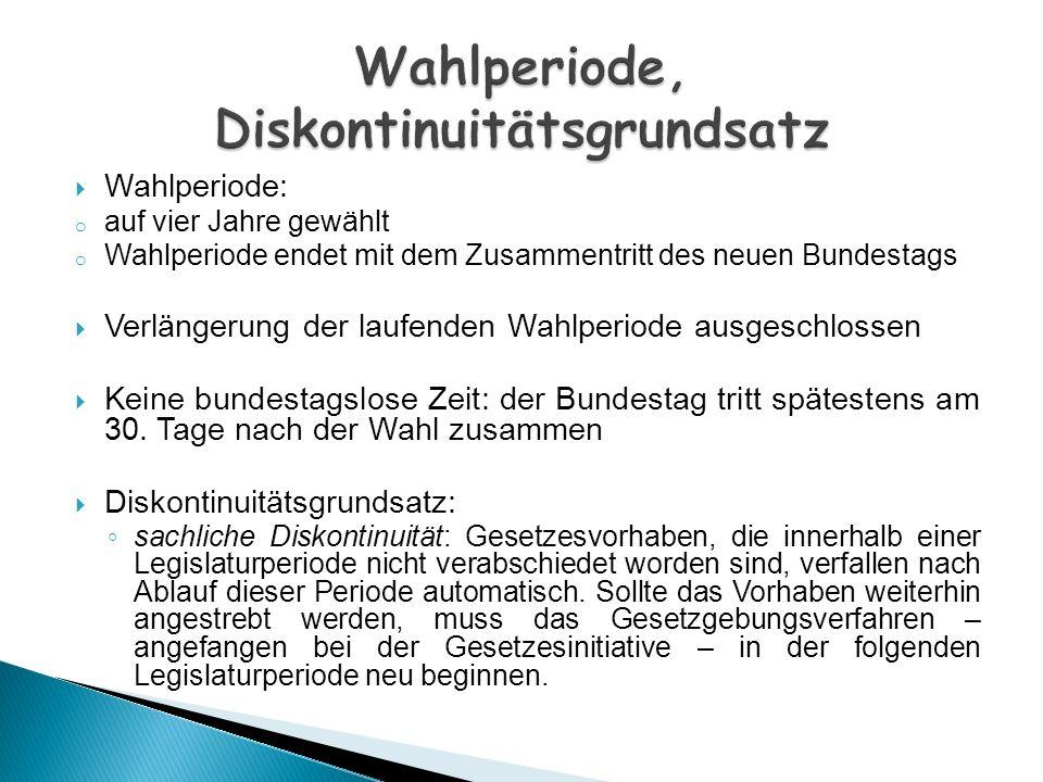 Wahlperiode: o auf vier Jahre gewählt o Wahlperiode endet mit dem Zusammentritt des neuen Bundestags Verlängerung der laufenden Wahlperiode ausgeschlo