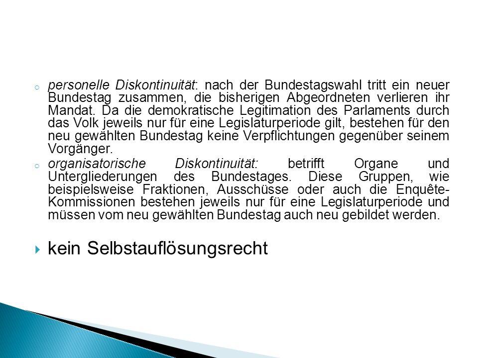 o personelle Diskontinuität: nach der Bundestagswahl tritt ein neuer Bundestag zusammen, die bisherigen Abgeordneten verlieren ihr Mandat. Da die demo