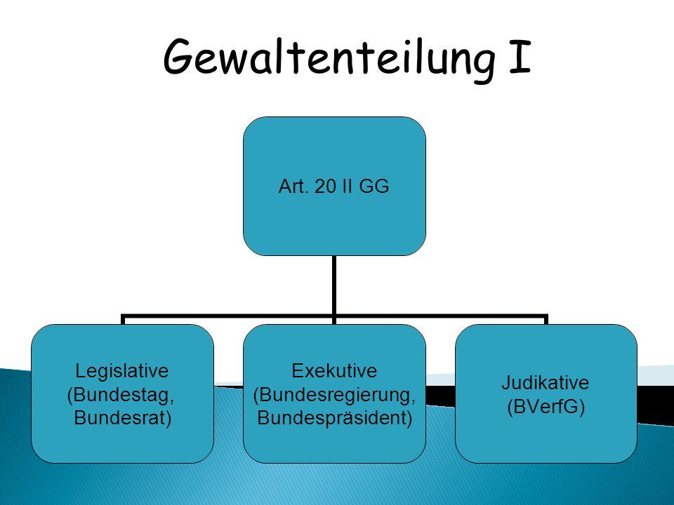 Art. 20 II GG Legislative (Bundestag, Bundesrat) Exekutive (Bundesregierung, Bundespräsident) Judikative (BVerfG) Gewaltenteilung I