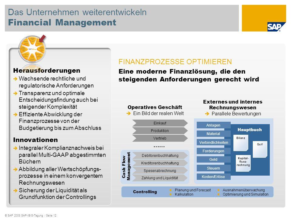 © SAP 2008 SAP-IBIS-Tagung / Seite 12 Das Unternehmen weiterentwickeln Financial Management Herausforderungen Wachsende rechtliche und regulatorische