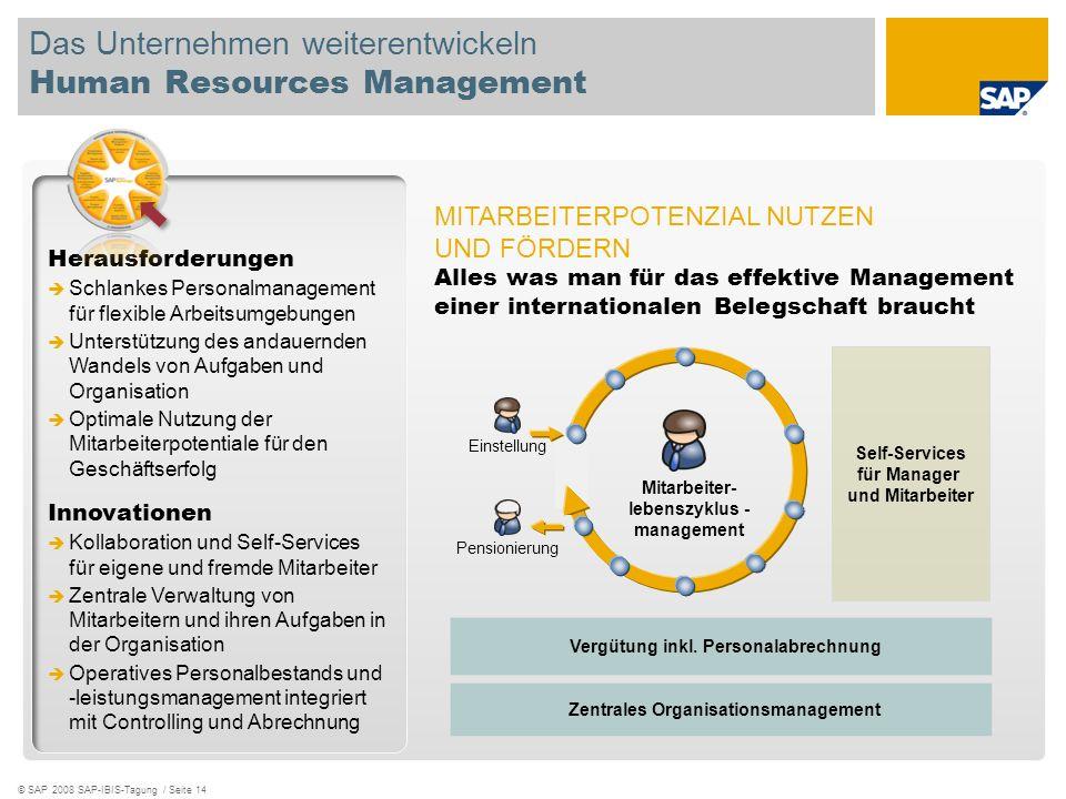 © SAP 2008 SAP-IBIS-Tagung / Seite 14 Das Unternehmen weiterentwickeln Human Resources Management Herausforderungen Schlankes Personalmanagement für f