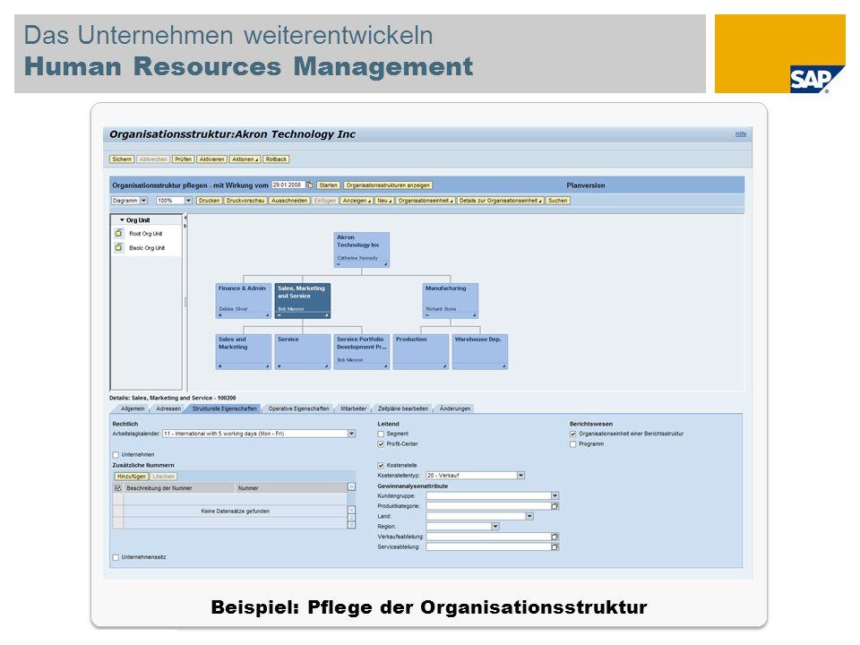 © SAP 2008 SAP-IBIS-Tagung / Seite 15 Das Unternehmen weiterentwickeln Human Resources Management Beispiel: Pflege der Organisationsstruktur