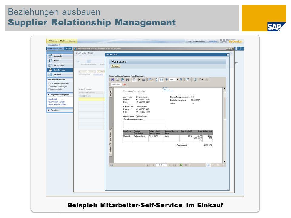 © SAP 2008 SAP-IBIS-Tagung / Seite 19 Beziehungen ausbauen Supplier Relationship Management Beispiel: Mitarbeiter-Self-Service im Einkauf
